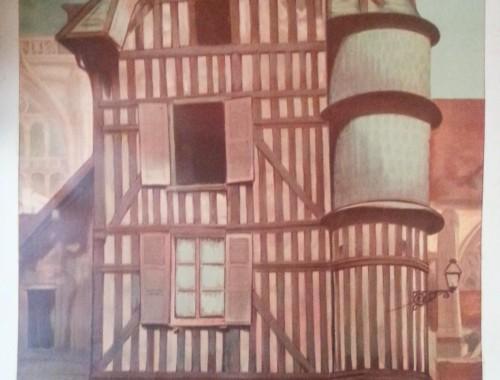 TROYES Affiche des année 40 de la SNCF Représentant la fameuse Maison de l'Orfèvre Elle a été dessinée par MIGNOT Porte le titre de Chemins de Fer de l'Est aube champagne (3)