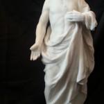 jésus christ sacré coeur resurection  sculpture grande statue marbre blanc art sacré objet religieux redempteur redemption ancien rond de bosse  (3)