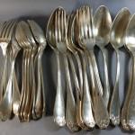 menagere metal argente modele feuillagé style louis XV rocaille louche cuiller a ragout fourchettes cuilleres cafe couverts entremet art nouveau déco (6)