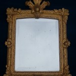 miroir epoque regence 1 XVIII eme siècle 18 Louis XIV XV glace au mercure bois stuc moulure sculpte dore feuille d'acanthe agrafe ancien antiquites