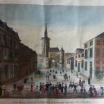 vue d'optique gravure couleur auxerre place XIX eme siècle vue de la tour de l'horloge département de  de l'yonne