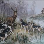 olivier de penne aquarelle chasse a courre venerie dessin cerf tableaux hallali bat l'eau chien aux abois (2)