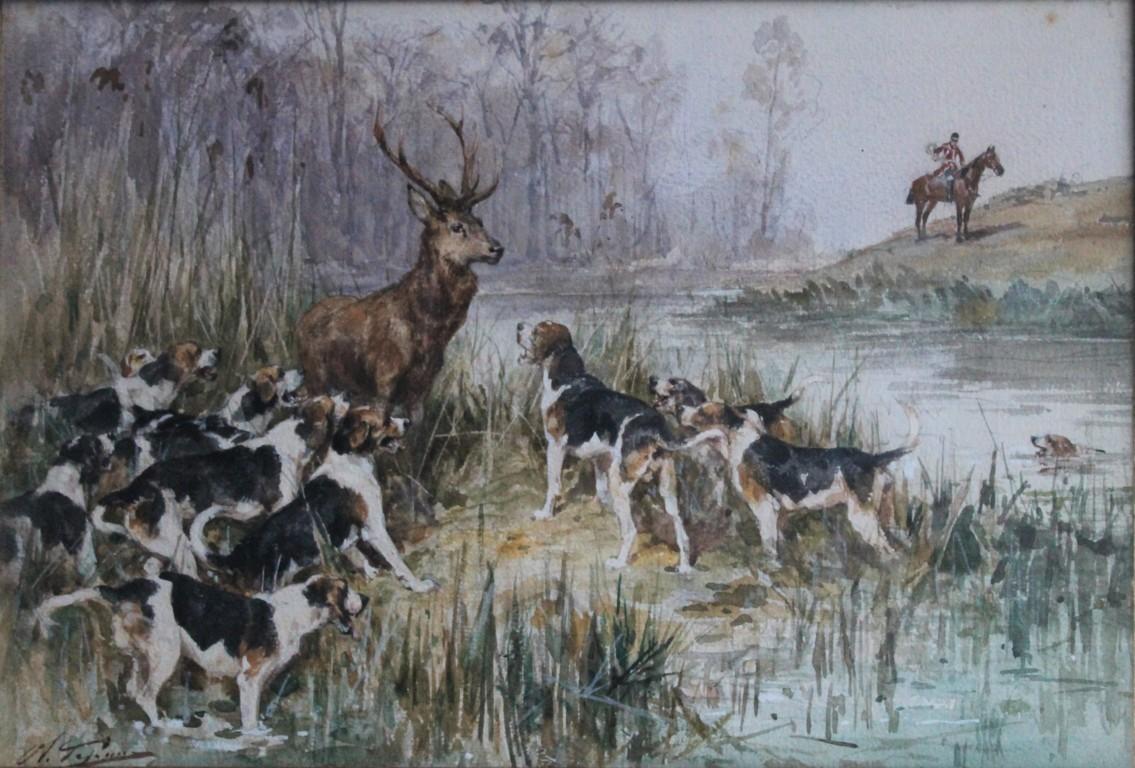 O de penne aquarelle l hallali sur pied magasin - Dessin de chasse ...