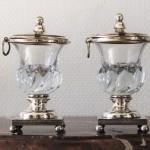 paire de confituriers en métal plaqué argenté cuivre doublé d'argent cristal XIX siècle epoque empire restauration moutardier  (2) (FILEminimizer)