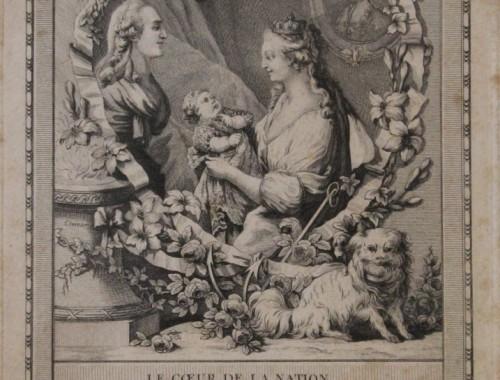 gravure-ancienne-xviiie-siecle-louis-xvi-marie-antoinette-naissance-du-dauphin-louis-joseph-huet-janinet-coeur-de-la-nation-sentiment-fleur-de-lys-2