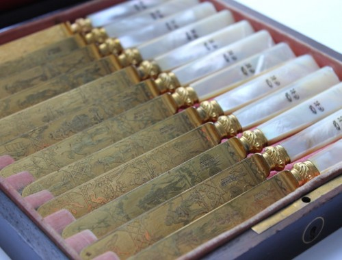 12 couteaux a fruit fromage scènes de chasse doré touron cr du roi charles X XIXème siècle (3) (FILEminimizer)