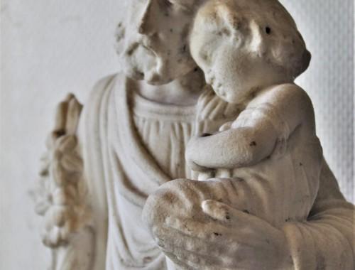 Saint Joseph en marbre blanc (2)