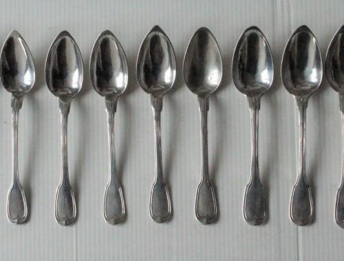 12 petites cuillères à thé café argent filet argent massif (3)