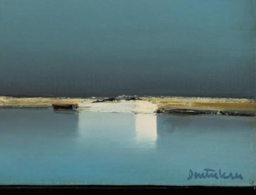 Pierre Doutreleau barques prêt de Ssssainte Marie de la Mer huile sur toile signé (4)