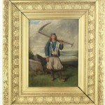 le Chouan bretaon avec sa faux tableau portrait huile sur toile XIXe siècle (2)