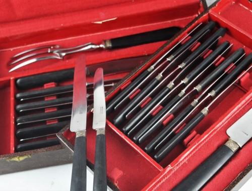ménagère série de couteaux manche ébène lame inoxydable couverts service découper (2)