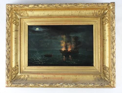 MARINE HUILE SUR PANNEAU tableau trois-mâts vaisseau navire bâteau en feu incendie XIXe siècle (11)