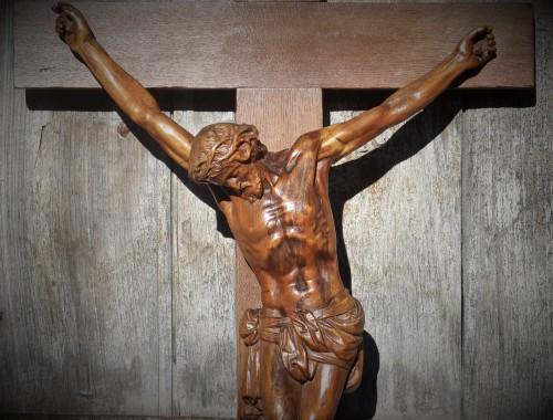 christ en croix crucifix corpus bois sculpté grandd chapelle XIXe siècle (1)