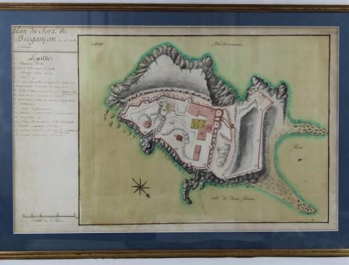 plan fort de bregancon XVIIe XVIIIe siecle aquarelle encre (1)