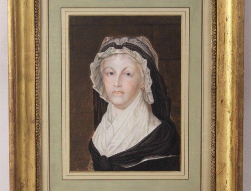 portrait de la reine marie antoinette XVIIIe XIXe siècle tableau gouache echantillon de la robe Kucharski (1)