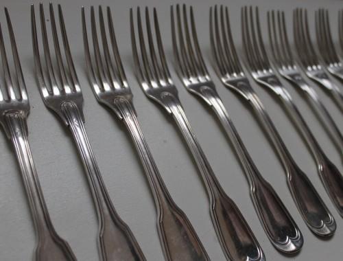 couverts ménagere modèle au filet chinon argent massif poincon minerve entremet 12 fourchette cuillères cuillers (10)