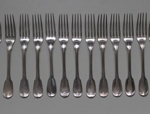 couverts ménagere modèle au filet chinon argent massif poincon minerve entremet 12 fourchette cuillères cuillers (12)