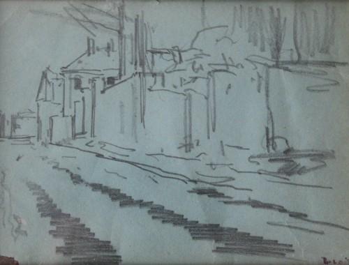 dessin esquisse luigi loir paysage rue neige enneigé  (2)
