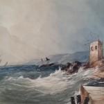 marine aquarelle tableau dessin ancien isabey Jules Noël gudin vernet bateau navire tempête mer tour XIXème sècle (1)