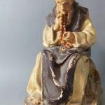 moine chartreux recitant son rosaire chapelet religieux prière sculpture platre peint statue bibelot (1) - Copie