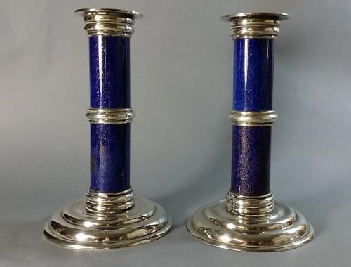 paire bougeoir flambeaux puiforcat lapis lazuli laque bleu méal argenté toilette
