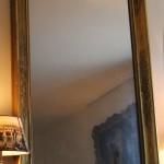 grand miroir epoque restauration empire charles X bois stuc doré palmette glace au mercure cheminée trumeau (5)