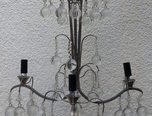 lustre en laiton bronze argenté et cristal pampille moderne corbeille boulle électrifié baguès baccarat cadeau de mariage (1)