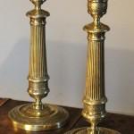 paire de flambeaux epoque restauration XIX eme siècle bronze ciselé fû (10)