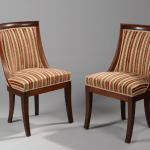 paire chaises gondole epoque restauration XIX acajou