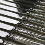 série de 12 couteaux argent massif fourré modele au filet chinon lame inoxydable inox de table grand poincon minerve (4)