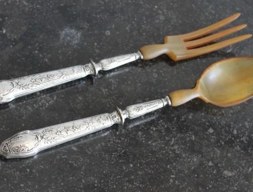 couvert a salade en corne et argent massif fourré style louis XVI décor de gui (1) (FILEminimizer)