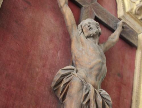 Christ en croix époque Louis XIV cadre en bois Jésus religion (4)