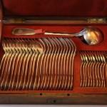 menagere 37 pièces louche cuillères café fourchette de table soupe écrin boitier coffret odiot argent massif poincon minerve (1)