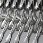 12 couverts menagere argent massif modele filet minerve fourchette de table cuillères à soupe (7)