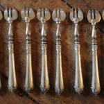 fourchettes à huitres argent massif style Louis XVI poincon minerve napoleon III (1)