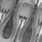 couverts menagere modèle filet argent massif XVIIIe siècle fermers generaux fourchette cuillères (2)