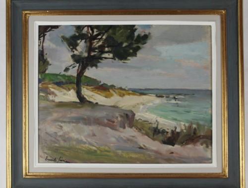 Emile simon plage des dunes beg-Meil finistere bretagne tableau huile marine bord de mer (1)