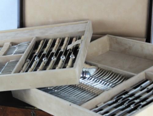 ménagère complète argent massif tetard freres poinçon minerve modèle aux filets chinon non chiffrée couverts couteaux entremet poisson (5)