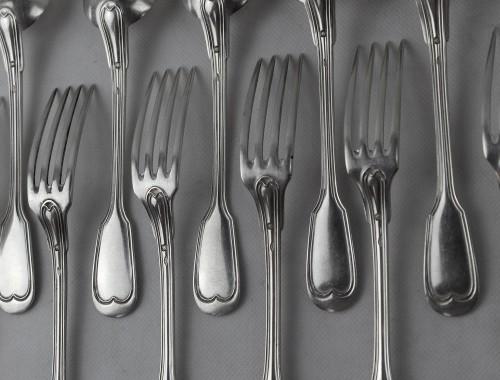 couverts à entremet dessert 12 modèle aux filets contours chinon henin en argent massif fourchettes cuillères (4)