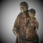 Saint Josephe portrant l'enfant Jésus sculpture statue XVIIe siècle bois sculpté polychromie (2)